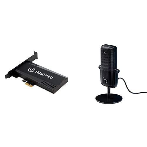 Elgato HD60 Pro1080p60 Capture and Passthrough, PCIe Capture Card, Low-Latency Technology, PS5, PS4, Xbox Series X/S, Xbox One with Wave:3 – USB Condenser Microphone and Digital Mixer