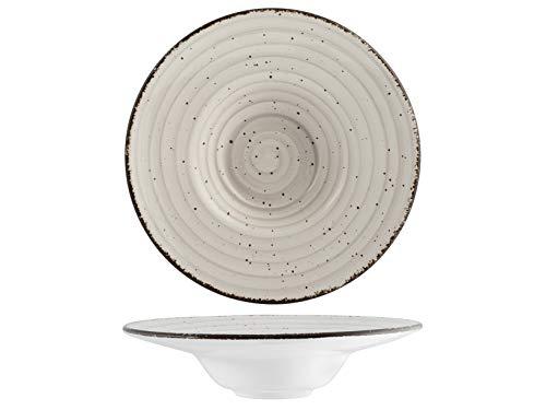 H&H 812392 Giotto - Plato de pasta, cerámica, gris, 24,5 cm