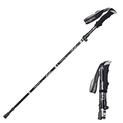 Collapsible Walking Sticks for Hiking | 4-Section Foldable Walking Poles | Quick Lock Trekking Poles | Comfortable EVA Grip | Aluminum Hiking Sticks with Bag | for Walkers and Hiker (black)
