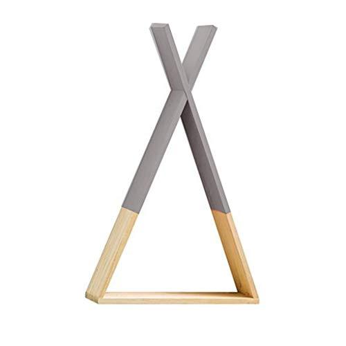 Yanhonin - Estantería tipi de madera para pared - Decoración de madera para habitación infantil y niño (gris)