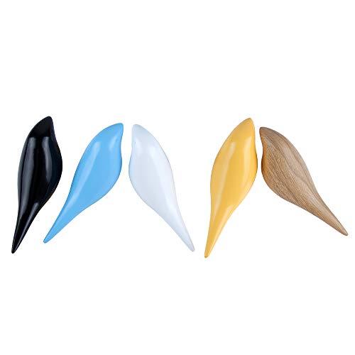 Miovatty Vogel Kleiderhaken Wand Mantelhaken, Wand Dekoration, Wandhaken 5Pcs und Fünf Farben
