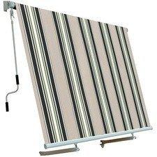 BIACCHI ETTORE SRL Tenda da sole a caduta 3x2,5 mt beige/bordeaux, beige/verde, beige/ocra, beige finestra o balcone MILOS (Beige/Verde)