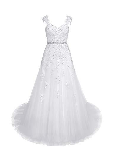 Brautkleider Hochzeitskleider Lang Spitze A-Linie Hochzeit Kleider Prinzessin Standesamtkleider Rückenfrei Weiß 44