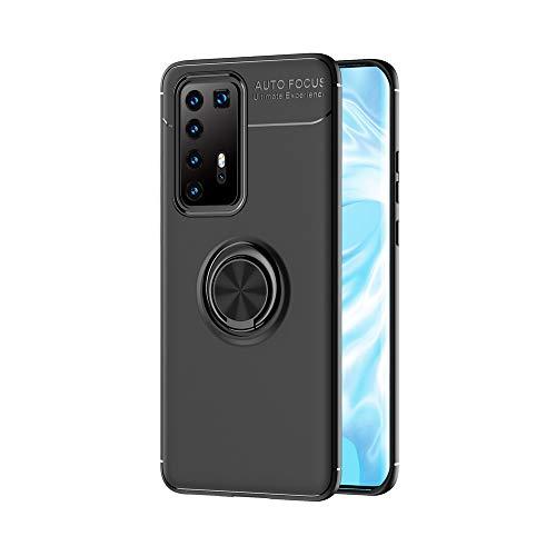 LAGUI Funda Adecuado para Huawei P40 Pro, Soporte de Montaje Magnético del Coche Carcasa Especial, con Anilla Posterior, Pistola Color+Negro