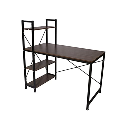 QIAOLI Escritorio de pie para computadora con estantería de 4 niveles, mesa de escritura para estudio de ahorro de espacio para oficina en casa, escritorio de computadora de estilo simple moderno