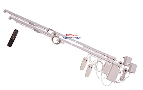METechs - Remote Control Motorized Double Drapery Curtain Track Set – Aluminum – 20 to 122 inch