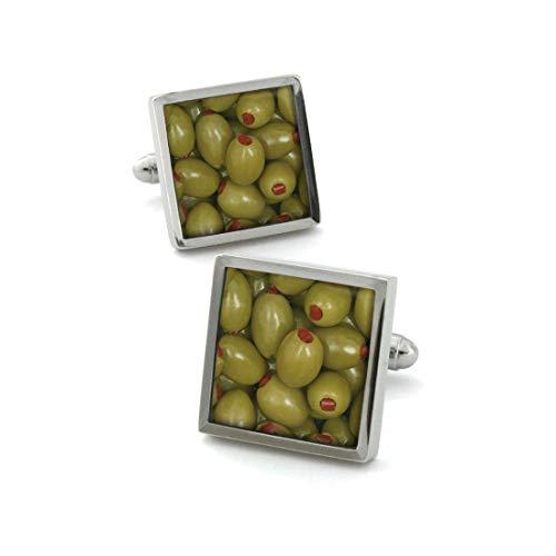 Robert Charles. Boutons de Manchette. Olive, Acier rhodié. Vert, Motifs.