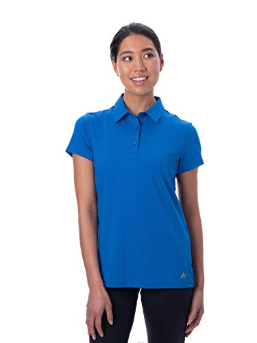 Arctic Cool Women's Instant Cooling Short Sleeve Polo UPF 50+ Sun Protection Moisture Wicking Quick Drying Top, Polar Blue, XL