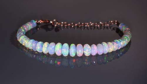 Rainbow Multi Fire Opal Top Qualität Opal Armband 100% natürlicher Opal Stein Armband Sterling Silber Opal Schmuck Rotgold vergoldet Opal Armband