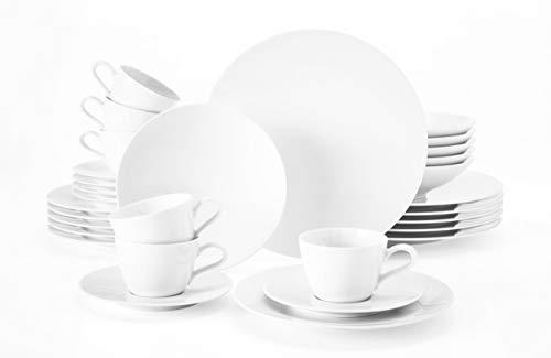Seltmann Weiden 001.737480 weiß Kombiservice 30-teilig | Serie Life Set beinhaltet je 6 Speiseteller, Suppenteller, Frühstücksteller, Kaffeeober-und Untertassen, Hartporzellan
