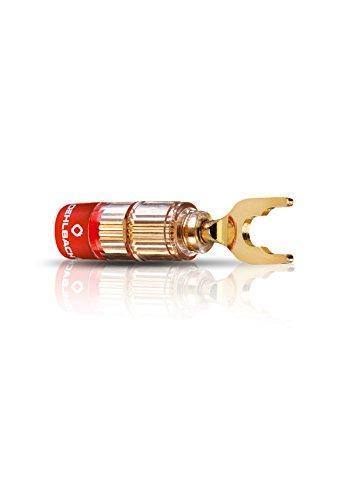 Oehlbach Solution Lug - eersteklas kabelschoenconnector voor kabels tot 6 mm2 - rood/zwart markering, krimpsysteem - 4 stuks - goud