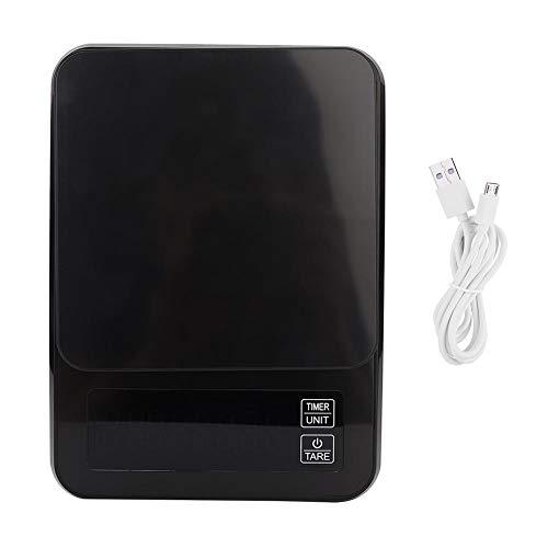 Báscula de pesaje digital LCD de alta precisión de 5 kg/0.1 g Báscula de café electrónica con función de temporización para laboratorios de cocina para el hogar Negro(Negro)