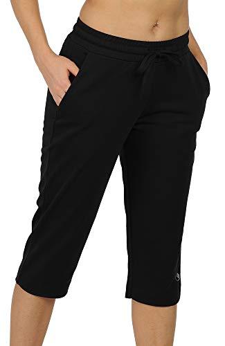icyzone Damen Sweathose Jogginghose 3/4 Sporthose Casual Straight Bein Hose mit Tasche (XL, Schwarz)