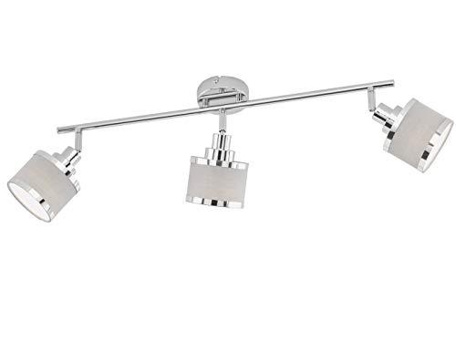 WOFI Design LED-verlichtingserie dimbare spots in glanzend chroom met draaibare ronde lampenkappen van grijze stof