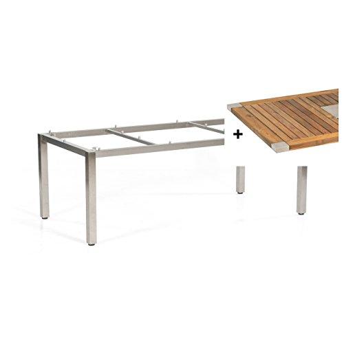 Sonnenpartner Gartentisch Tisch System Base Style Edelstahl Old Teak 200 x 100cm