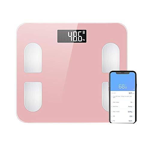 Namgiy Körperfettwaage Digitale Personenwaage mit APP für Fitness-Monitor Bluetooth Smart Digitale Waage für iOS & Android, Pink