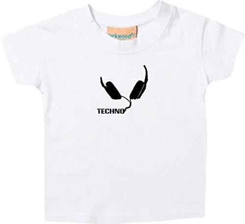 Camiseta Niño Techno Música Auriculares Auriculares Music Club Culto Club Culto, Blanco, 12-18 Meses