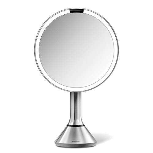 simplehuman Sensor Lighted Makeup Vanity Mirror, 8' Round with Touch-Control Brightness, 5X Magnification, Brushed Stainless Steel, Rechargeable and Cordless