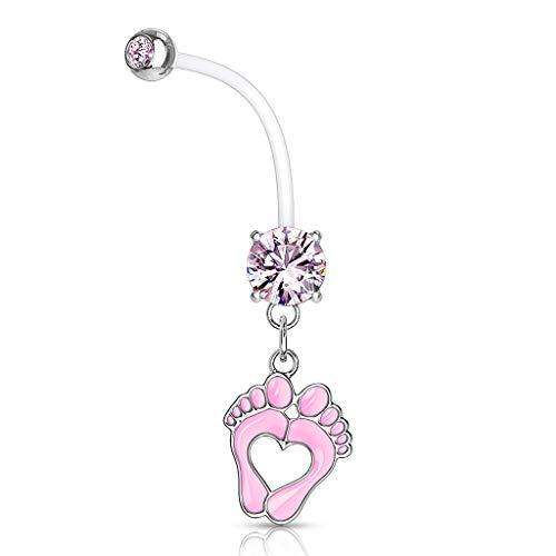 Autiga® Schwangerschaftspiercing Bio Flex Flexibler Kunststoff kürzbar Baby Füße Füßchen Herz Zirkonia Kristall Bauchnabel-Piercing rosa