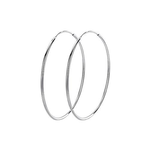 Pendientes de aro grandes de plata de ley 925 con forma de círculo, sin fin, 40/50/60/70/90 mm, para mujeres y niñas (60 mm)