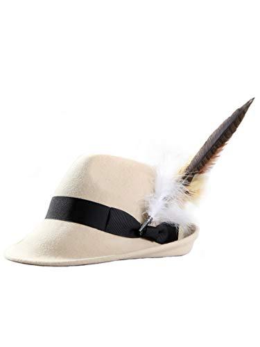 Almbock ALMBOCK Trachtenhut Damen mit Feder - Trachtenhüte in vielen Farben und den Größen S M L - Trachten Hut hergestellt aus Woll-Filz (S (54cm), Beige - Modell H10)