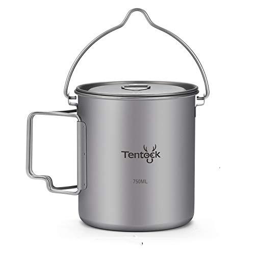 Tentock Titanium Cup Backpacking Camping Coffee Mug 750ml Hanging Pot Ultralight Portable Multi-Functional Outdoor Cooking Pot Mug