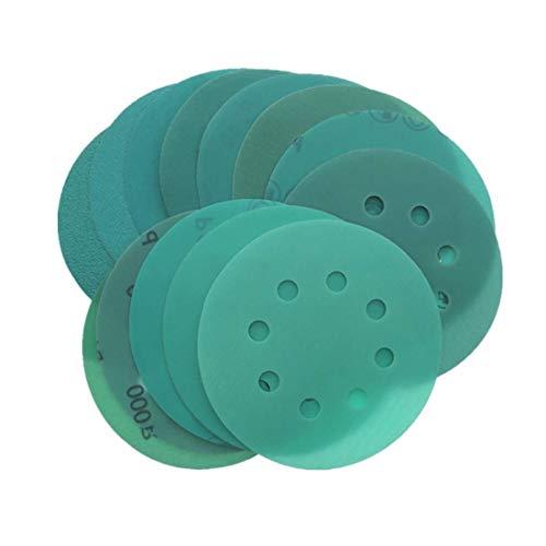 YONIK 耐水ペーパー サンドペーパー 丸型 8穴 フィルム研磨材 サンダー用 プラスチック やすり 耐久 10枚セット 125mm (120 180 240 320 400 600 800 1000 1500 2000)