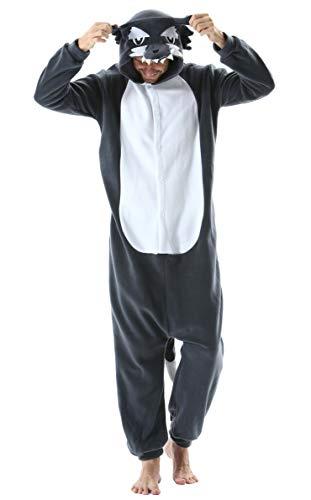Pijama Animal Entero Unisex para Adultos con Capucha Cosplay Pyjamas Ropa de Dormir Kigurumi Traje de Disfraz para Festival de Carnaval Halloween Navidad Lobo