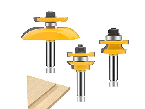 Activists 3 PCS Router Bit Set, 1/2-Inch Shank Round Over Raised Panel Cabinet Door Ogee Rail and Stile Router Bits Woodworking Wood Cutter
