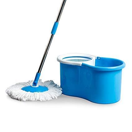 PrimeTrendz 360° Easy Clean Floor Mop Bucket 2 Heads Microfiber Spin Rotating Head   Color: Assorted (Blue, Green, Red Or Purple)