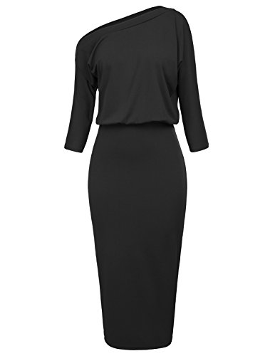GRACE KARIN Women's Ruched One Shoulder Office Bodycon Pencil Dress Size M Black