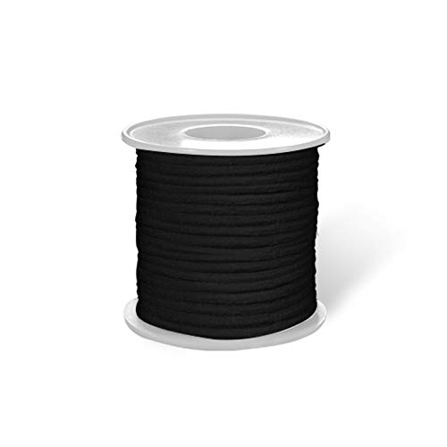ISSUNTEX Black 20-Yards Length 1/8 inch 3mm Round Elastic Band,Elastic Rope,Braided Stretch Strap Cord Roll for Sewing and Crafting