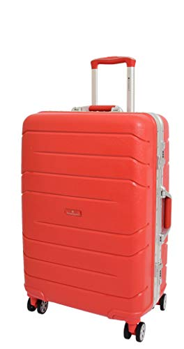 Medium Size Exclusive Metal Frame 4 Wheel Check-in Luggage Hard Shell Suitcase Travel Bags A828 Red
