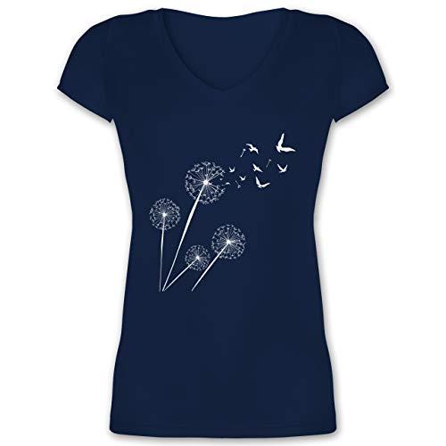 Statement - Pusteblume Vögel - L - Dunkelblau - Baumwoll Tshirts Damen - XO1525 - Damen T-Shirt mit V-Ausschnitt