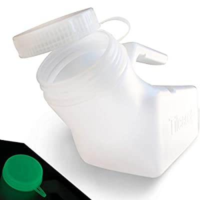 Urinals for Men by Tilcare (1 Pack) - 32oz/1000mL Thick Plastic Mens Bedpan Bottle with Screw-on Lid - Spill Proof Urinary Chamber - Male Portable Pee Bottles - Travel Urine Collection Containers