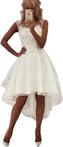 Cloverbridal Damen Spitze Hochzeitskleider Standesamt Hinten Lang Vorne Kurz Boho Böhmischen Brautkleider Strand Elegante Brautmode Festkleider Weiß, 46