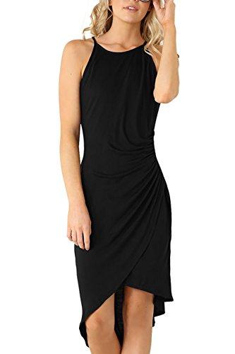 Eliacher Women's Summer Spaghetti Strap Sleeveless Casual Bodycon Midi Dress Black Small (Bust 72-82cm/28.30-32.30', Waist 66-70cm/26.00-27.60' Length 112cm/44.10')