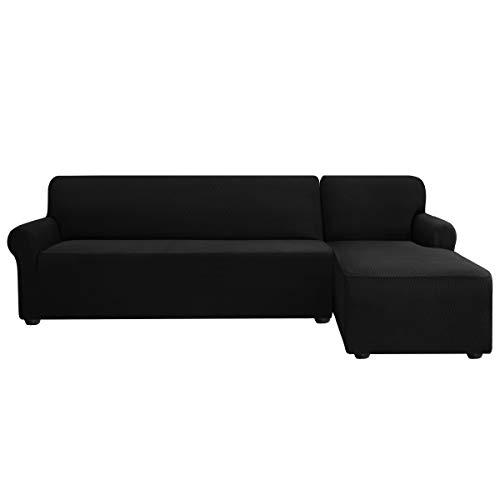 subrtex Sofabezug L Form Stretch Sofahusse Ecksofa Elastisch Antirutsch Eckcouch überwurf Weich Stoff Abwaschbar (Rechts 2 Sitzer, Schwarz)
