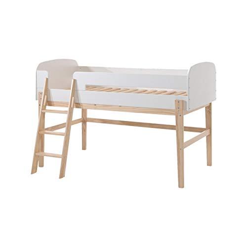 Vipack Lit mezzanine bois blanc Scandinave 90 Kiddy