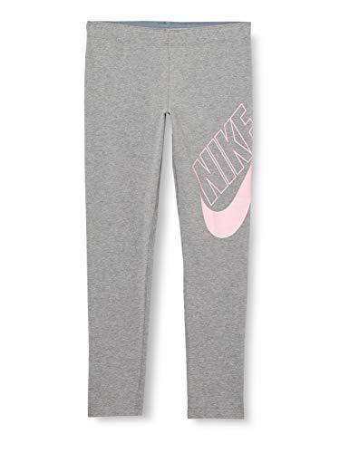 NIKE G NSW Favorites Gx Legging Sport Trousers, Niñas, Carbon Heather/Pink, 16 años