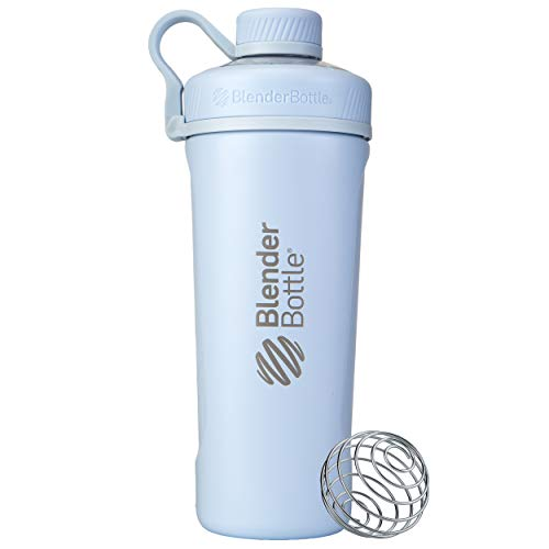 BlenderBottle Radian Shaker Cup Insulated Stainless Steel Water Bottle with Wire Whisk, 26-Ounce, Matte Arctic Blue