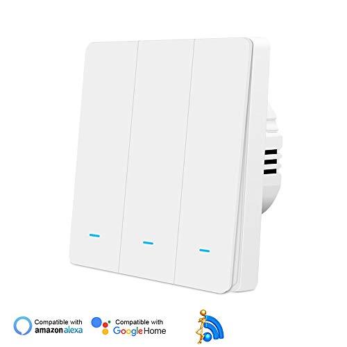 Smart Lichtschalter, WiFi Smart Physical-Button-Schalter, Jinvoo-Wandschalter, Kompatibel mit Alexa/Google Home, Unterstützung Tuya APP Fernbedienung, Timing-Funktion, kein Hub erforderlich(3 Gang)