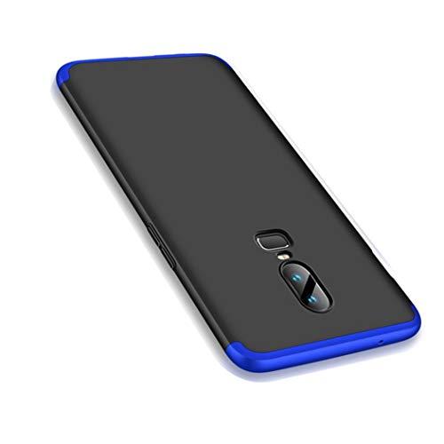 OnePlus 6 Hülle, Ultra Dünn 3 in 1 Schutzhülle 360 Grad Komplettschutz Case, Anti-Slip, Kratzer Hart PC Skin Rückdeckel Schutzhülle für One Plus 6 (OnePlus 6, Blau + Schwarz)