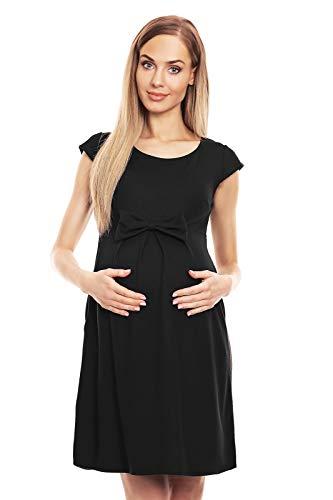 Selente Mummy Love Vestito Basic Premaman di qualità, Fiocco Nero, L-XL