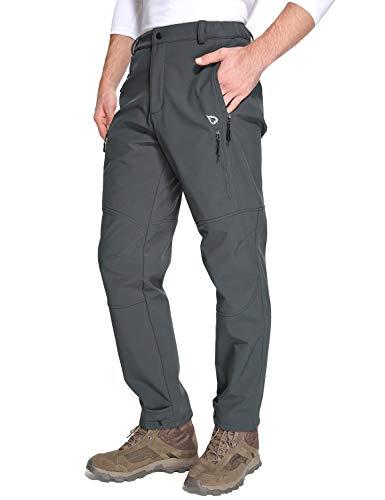 BALEAF Herren Gefüttert Softshellhose Berghose Trekkinghose Winddicht Wasserdicht Atmungksative Wanderhose mit Tasche Grey L