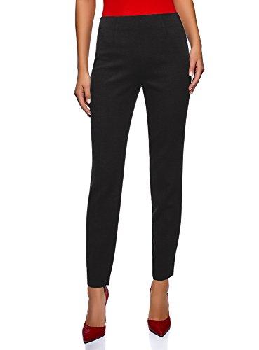 oodji Collection Mujer Pantalones Ajustados con Cremallera en el Lateral, Negro, ES 46 / XXL