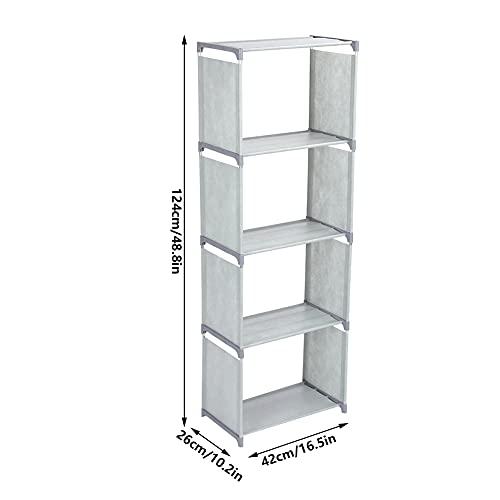 Estante grande estante de estante de estante de livros inclinados de várias camadas Armazenamento para quarto para sala de estar e escritório(cinza)