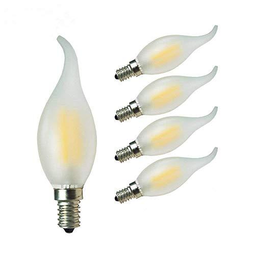 GLW 4W LED Bombilla de Filamento,3000K Lámpara de Candela Blanca Cálida,E14 40W Reemplazo Incandescente,Punta Doblada de Forma Llama,Bombilla de Araña Antigua 400lm,240V(5 paquetes)