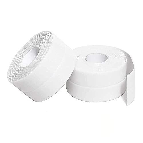 2PCS Caulk Tapes, PVC Waterproof Self Adhesive Sealant Strip for Bathtub Bathroom Shower Toilet Kitchen Sink Floor Wall Corner Edge Sealing Protector with Sealant Tool, White, W:38mm L:11Ft
