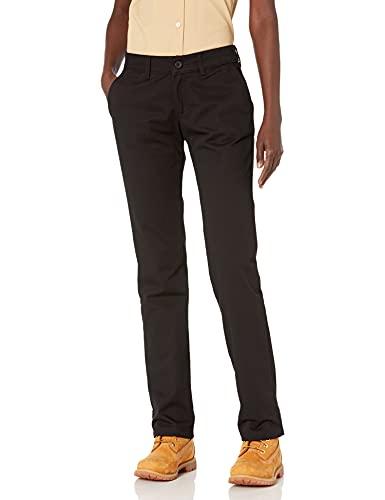 Dickies Women's Straight Flex Twill Pant, Rinsed Black, 2